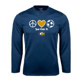 Performance Navy Longsleeve Shirt-Soccerball Just Kick It