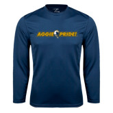 Performance Navy Longsleeve Shirt-Aggie Pride