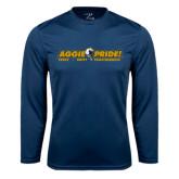 Performance Navy Longsleeve Shirt-Aggie Pride w/ Tagline