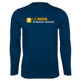 Performance Navy Longsleeve Shirt-Veterinary Medicine