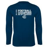 Performance Navy Longsleeve Shirt-2018 Big Sky Football Champions