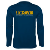 Performance Navy Longsleeve Shirt-UC DAVIS U of C
