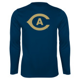 Performance Navy Longsleeve Shirt-Secondary Athletics Mark