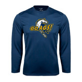 Performance Navy Longsleeve Shirt-Go Ags Logo