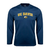 Performance Navy Longsleeve Shirt-Arched UC Davis Logo