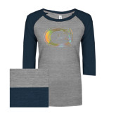 ENZA Ladies Athletic Heather/Navy Vintage Triblend Baseball Tee-Official Logo Foil
