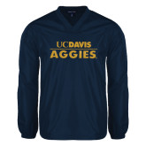V Neck Navy Raglan Windshirt-UC DAVIS Aggies