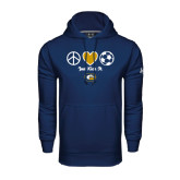 Under Armour Navy Performance Sweats Team Hoodie-Soccerball Just Kick It