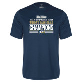 Syntrel Performance Navy Tee-Big West Conference 2017 Regular Season Womens Basketball Champions Stacked