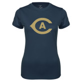 Ladies Syntrel Performance Navy Tee-Secondary Athletics Mark