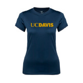 Ladies Syntrel Performance Navy Tee-UC DAVIS
