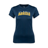 Ladies Syntrel Performance Navy Tee-Arched UC Davis Aggies