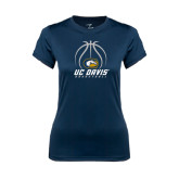 Ladies Syntrel Performance Navy Tee-Basketball Stacked