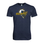 Next Level Vintage Navy Tri Blend Crew-Go Ags Logo