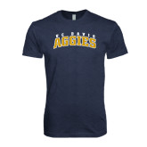 Next Level Vintage Navy Tri Blend Crew-Arched UC Davis Aggies