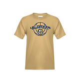 Youth Khaki Gold T Shirt-Basketball Arched
