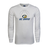 White Long Sleeve T Shirt-Basketball Stacked