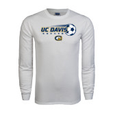 White Long Sleeve T Shirt-Soccerball with Flying Ball