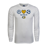 White Long Sleeve T Shirt-Soccerball Just Kick It