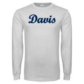 White Long Sleeve T Shirt-Script Davis