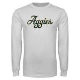 White Long Sleeve T Shirt-Aggies Script
