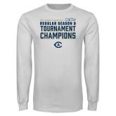 White Long Sleeve T Shirt-UC Davis 2021 Womens Basketball Reg Season & Tournament Champs