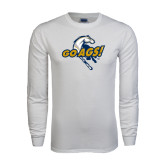 White Long Sleeve T Shirt-Go Ags Logo