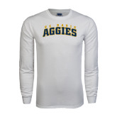 White Long Sleeve T Shirt-Arched UC Davis Aggies