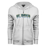 ENZA Ladies White Fleece Full Zip Hoodie-Softball