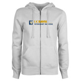 ENZA Ladies White Fleece Full Zip Hoodie-Veterinary Medicine