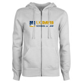 ENZA Ladies White Fleece Full Zip Hoodie-School of Law