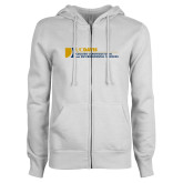 ENZA Ladies White Fleece Full Zip Hoodie-College of Agricultural and Environmental Sciences