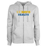 ENZA Ladies White Fleece Full Zip Hoodie-UC Davis Health