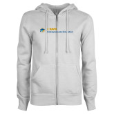 ENZA Ladies White Fleece Full Zip Hoodie-Undergraduate Education