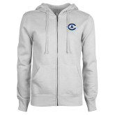 ENZA Ladies White Fleece Full Zip Hoodie-Secondary Athletics Mark