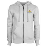 ENZA Ladies White Fleece Full Zip Hoodie-School of Education