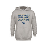 Youth Grey Fleece Hood-UC Davis 2021 Womens Basketball Reg Season & Tournament Champs