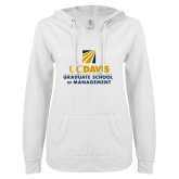 ENZA Ladies White V Notch Raw Edge Fleece Hoodie-Graduate School of Management Stacked