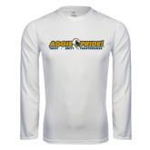 Performance White Longsleeve Shirt-Aggie Pride w/ Tagline