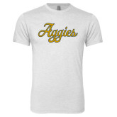 Next Level Heather White Tri Blend Crew-Aggies Script