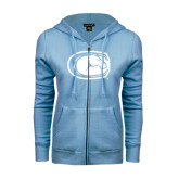 ENZA Ladies Light Blue Fleece Full Zip Hoodie-Official Logo