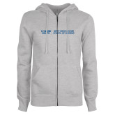 ENZA Ladies Grey Fleece Full Zip Hoodie-Betty Irene Moore School of Nursing