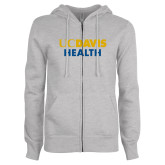 ENZA Ladies Grey Fleece Full Zip Hoodie-UC Davis Health