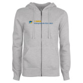 ENZA Ladies Grey Fleece Full Zip Hoodie-Undergraduate Education