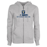 ENZA Ladies Grey Fleece Full Zip Hoodie-Veterinary Medicine