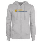ENZA Ladies Grey Fleece Full Zip Hoodie-College of Agricultural and Environmental Sciences
