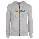 ENZA Ladies Grey Fleece Full Zip Hoodie-School of Medicine