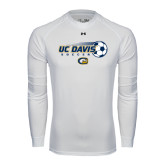 Under Armour White Long Sleeve Tech Tee-Soccerball with Flying Ball