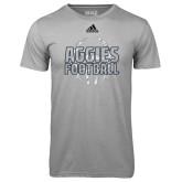 Adidas Climalite Sport Grey Ultimate Performance Tee-Adidas Aggies Football Logo