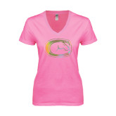 Next Level Ladies Junior Fit Ideal V Pink Tee-Official Logo Foil